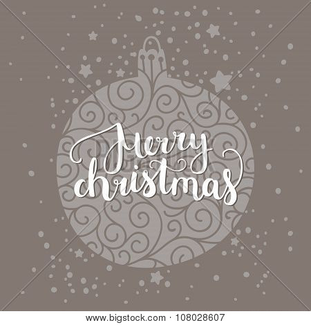 Merry Christmas card with hand drawn lettering
