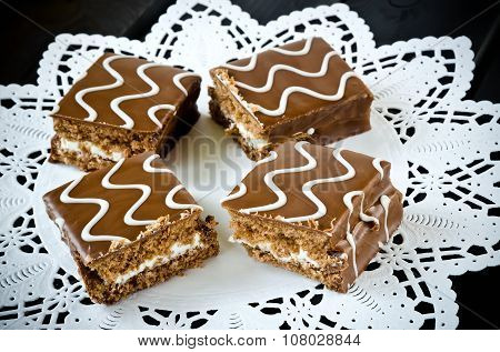 Chocolate-coated biscuits.