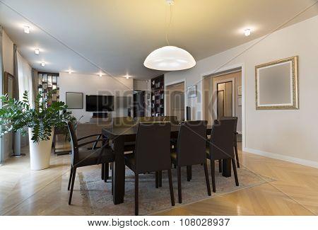 Dining Area In Specious Apartment Interior