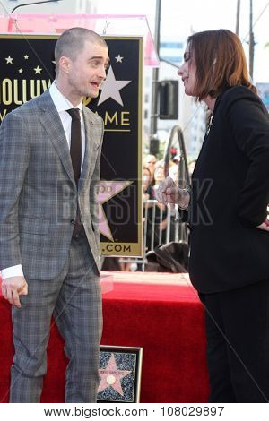 LOS ANGELES - NOV 12:  Daniel Radcliffe, Ana Martinez at the Daniel Radcliffe Hollywood Walk of Fame Ceremony at the Hollywood Walk of Fame on November 12, 2015 in Los Angeles, CA