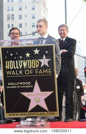 LOS ANGELES - NOV 12:  Daniel Radcliffe, Leron Gubler at the Daniel Radcliffe Hollywood Walk of Fame Ceremony at the Hollywood Walk of Fame on November 12, 2015 in Los Angeles, CA