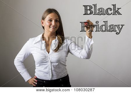 Black Friday - Beautiful Girl Writing On Transparent Surface