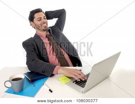 Businessman Leaning On Chair Working At Office Computer Laptop Looking Happy Satisfied And Relaxed