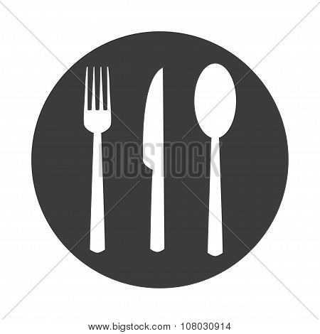 Fork Spoon Knife In Flat Style Illustration On White Background