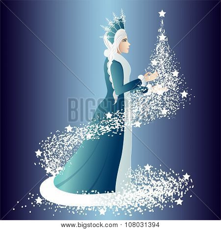 Christmas Night The Snow Maiden With A Fir-tree.