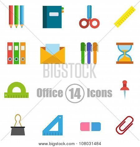 Office Set Of 14 Icons In A Flat Style