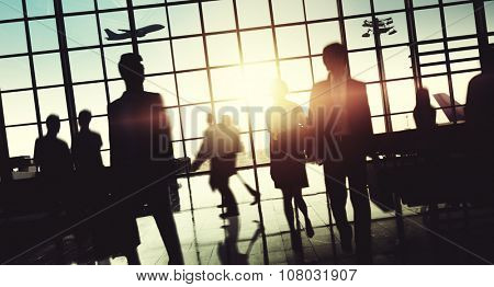 Crowd People Silhouette Busy Airport Terminal Concept