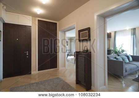 Apartment Entrance Interior With A View To The Rooms