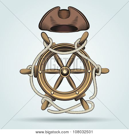 Steering Wheel And Sailor Hat