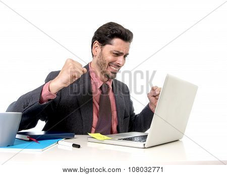 Attractive Businessman Working Happy At Office Computer Excited And Euphoric