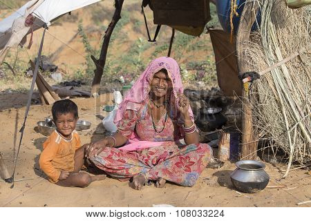 Indian Woman And Child In Pushkar. India