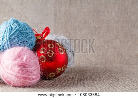 Colored Clew With Cristmass Ball