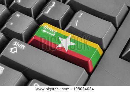 Enter Button With Burma Flag