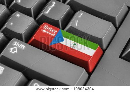 Enter Button With Equatorial Guinea Flag