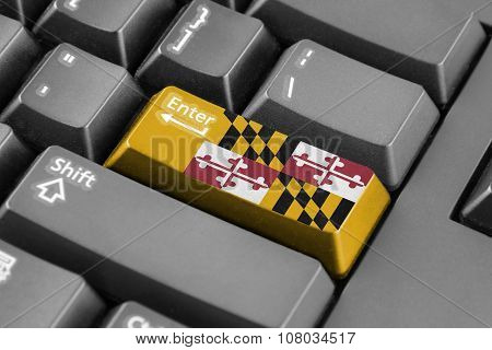 Enter Button With Maryland State Flag