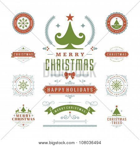 Christmas Labels and Badges Vector Design Decorations elements