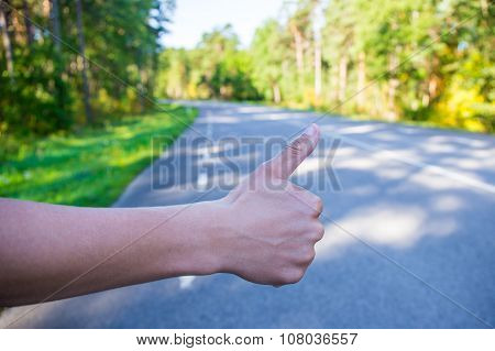 Male Hand Hitching Car On Road