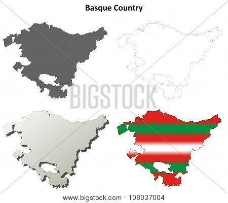 Basque Country blank outline map set - Basque version