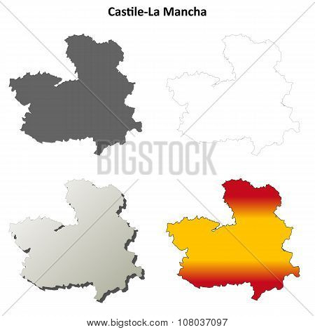 Castile-La Mancha blank outline map set
