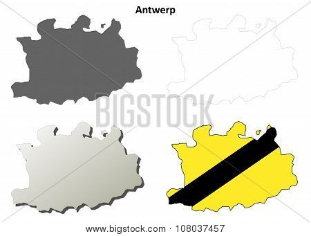 Antwerp outline map set - Flemish version