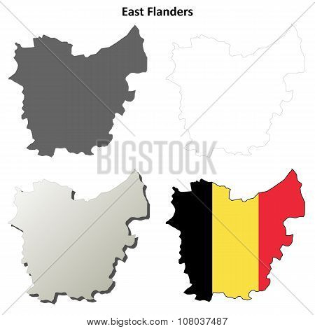 East Flanders outline map set - Belgian version