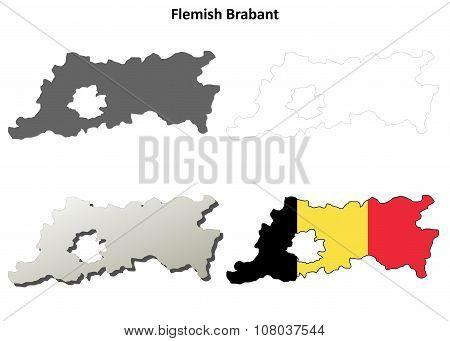 Flemish Brabant outline map set - Belgian version