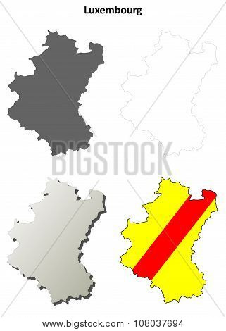 Luxembourg outline map set - Walloon version