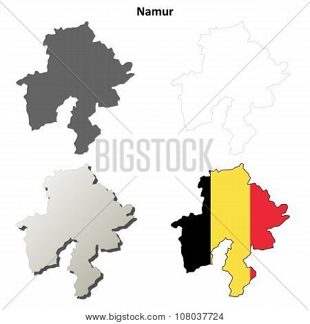 Namur outline map set - Belgian version