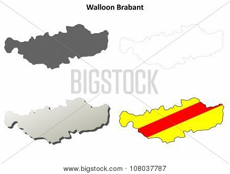 Walloon Brabant outline map set - Walloon version