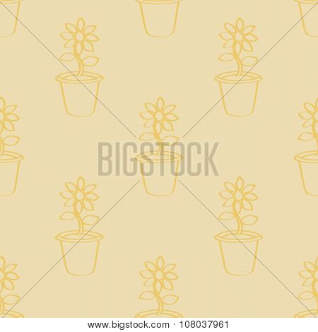 Seamless Outlined Cartoon Sunflower Background