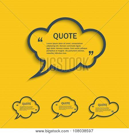 Quote Line Cloud Speech Bubbles Set