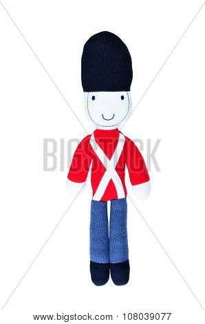 Knitted Toy Soldier Isolated On White