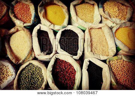 Diverse Multi Colored Legume Bean Sack Market Concept