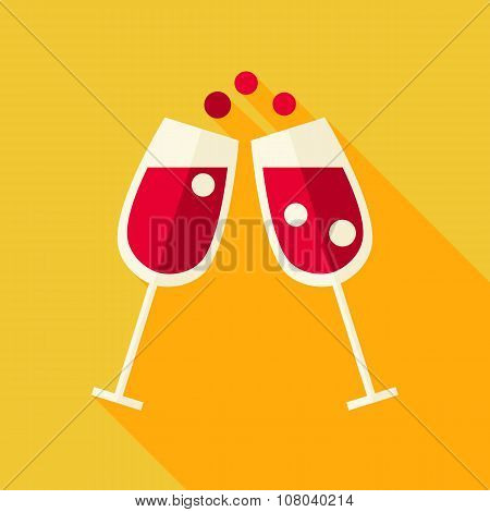 Vector Flat Design Cheers Glasses With Wine Icon