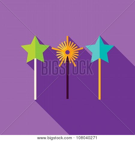 Vector Flat Design Magic Sticks Icon