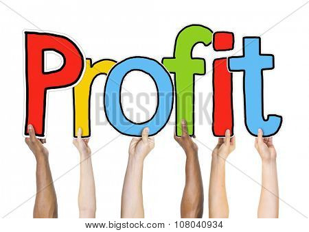 Group of Diverse People's Hands Holding Profit