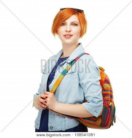 Portrait Of Diligent Girl Student University Or College Isolated On White Background
