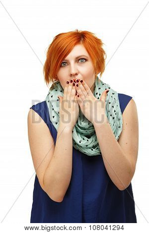 Portrait Of A Funny Red-haired Girl Emotionally Gesticulating And Waving His Hands Isolated On White