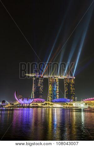 Marina Bay Sands, Singapore November 05, 2015: Beautiful Laser Show At The Marina Bay Waterfront, Si