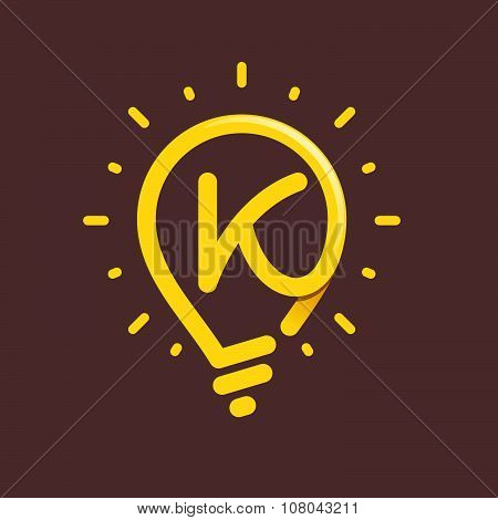 K Letter With Light Bulb Or Idea Icon.