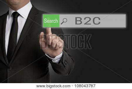 B2C Browser Is Operated By Businessman Concept