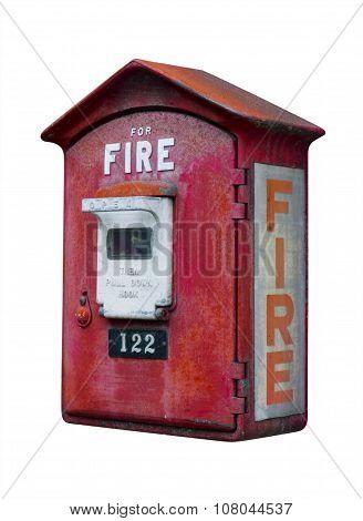 Vintage fire alarm box, isolated