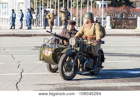 Reenactment Of The Battle Near Moscow In 1941 At The Kuibyshev Square