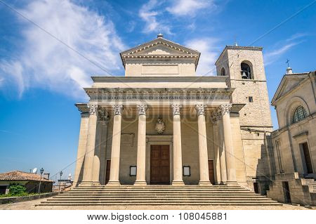 Frontal View Of Church San Marino Basilica - Rsm Italian Adriatic Coast - Emilia Romagna And Marche