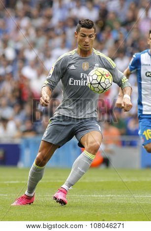 BARCELONA - SEPT, 12: Cristiano Ronaldo of Real Madrid during a Spanish League match against RCD Espanyol at the Power8 stadium on September 12 2015 in Barcelona Spain