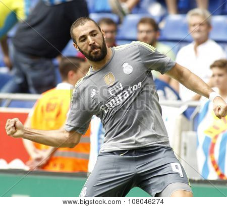 BARCELONA - SEPT, 12: Karim Benzema of Real Madrid during a Spanish League match against RCD Espanyol at the Power8 stadium on September 12 2015 in Barcelona Spain