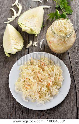 Sauerkraut And Fresh Cabbage