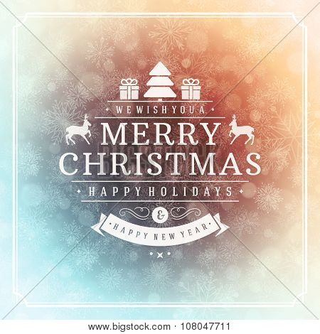 Merry Christmas greeting card lights and snowflakes vector background