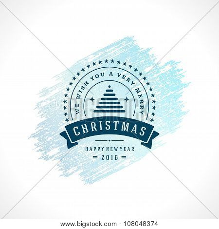 Merry Christmas Typography Greeting Card Design and Decoration Vector Background