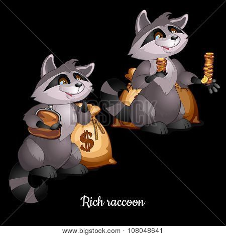 Two raccoons engaged in charity, black background